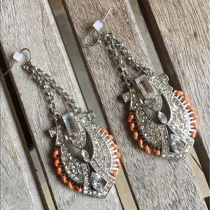 Art Deco Rhinestone & Orange Pierced Earrings